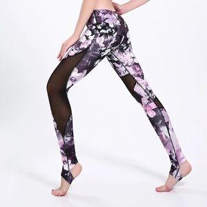 Pants - Cherry blossom mesh stirrup leggings tights yoga